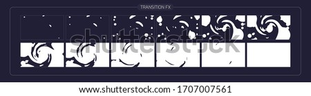 liquid Transitions Effect. liquid transition FX Sprite Sheet of Ready for games, cartoon or animation and motion design. white color scene transition. stock photo