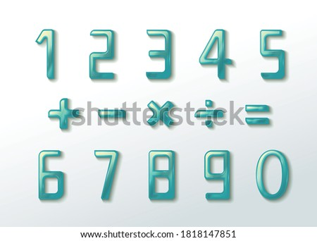 Liquified and Glassy Number and Symbol Make Peaceful Feeling Vector Graphic Illustration EPS 10 Foto stock ©