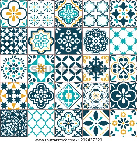 Lisbon geometric Azulejo tile vector pattern, Portuguese or Spanish retro old tiles mosaic, Mediterranean seamless turquoise and yellow design. Ornamental textile background