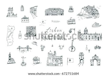lisbon portugal city doodle