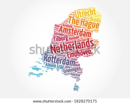 List of cities and towns in Netherland, map word cloud collage, business and travel concept background