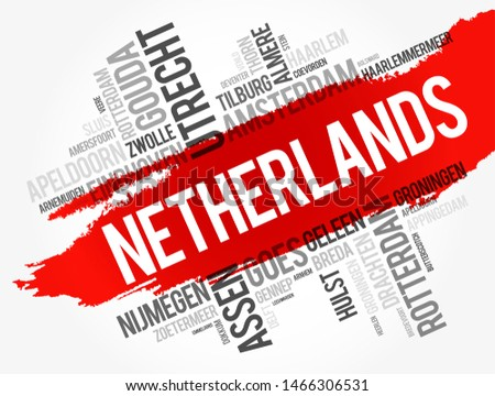 List of cities and towns in Netherlands word cloud, business and travel concept background