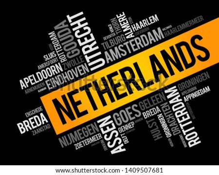 List of cities and towns in Netherlands, word cloud collage, business and travel concept background