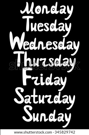 List Of Days Of The Week (Monday, Tuesday, Wednesday ...