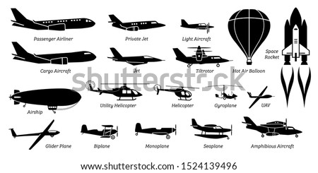 List of different airplane, aircraft, aeroplane, plane and aviation icons. Artwork show airliner, jet, light aircraft, cargo plane, airship, helicopter, space rocket, biplane, monoplane, and seaplane. Сток-фото ©