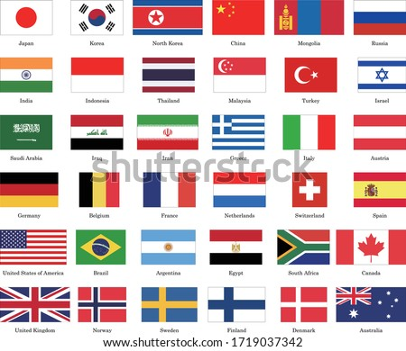 List of 36 kinds of national flags