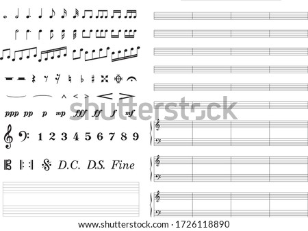 List of various music symbols Photo stock ©