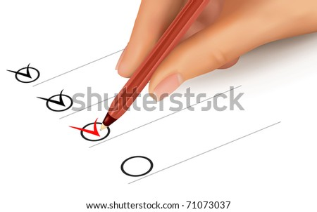 List with checkboxes and hand with pen. Vector illustration.