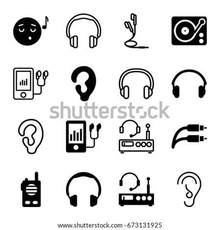 Listen icons set. set of 16 listen filled and outline icons such as ear, emoji listening music, mp3 player, gramophone, earphones, earphone wire, listening device