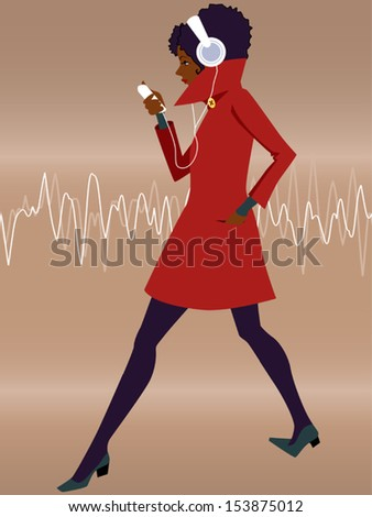 Listener. Young black woman in a red coat wearing headphones and walking, listening to music from a mp3 player