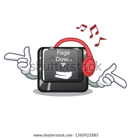 Stock Photo Listening music button page down shape the mascot