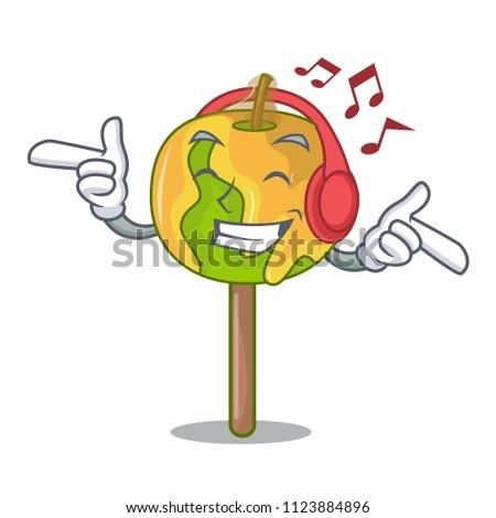 listening music candy apple