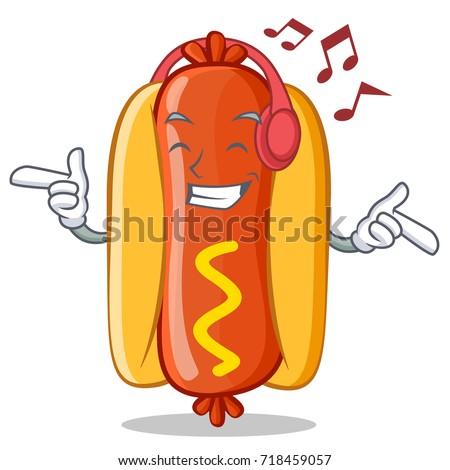 listening music hot dog cartoon