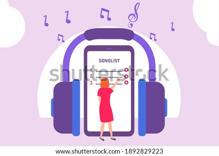 Listening music vector concept: Young woman choosing song list on smartphone with big headphone Photo stock ©