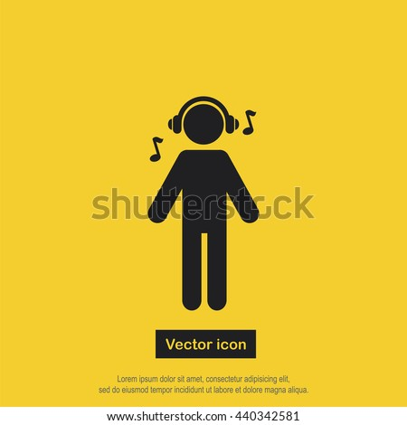 listening to music icon vector
