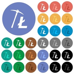 Litecoin cryptocurrency mining multi colored flat icons on round backgrounds. Included white, light and dark icon variations for hover and active status effects, and bonus shades.