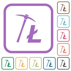 Litecoin cryptocurrency mining simple icons in color rounded square frames on white background