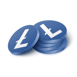 Litecoin cryptocurrency tokens. Vector illustration showing the symbol of the Litecoin cryptocurrency as a stack dark blue physical 3d chips, coins with white sign in isometric view