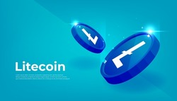 Litecoin LTC banner. LTC coin cryptocurrency concept banner background.
