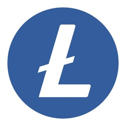 Litecoin LTC token symbol cryptocurrency logo, coin icon isolated on white background. Vector illustration.
