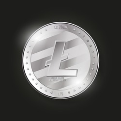 Litecoin vector illustration. Silver realistic coin. Cryptocurrency icon. Digital currency. LTC payment system