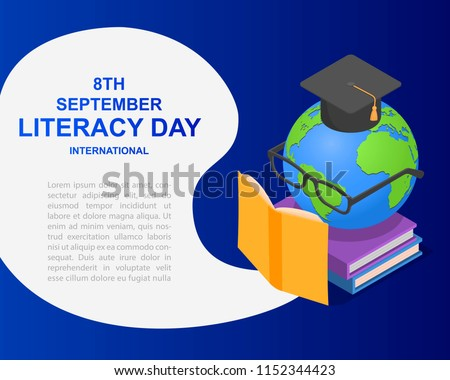 Literacy Day book international globe hat library banner concept. Isometric illustration of Literacy Day book international globe hat library vector banner for web