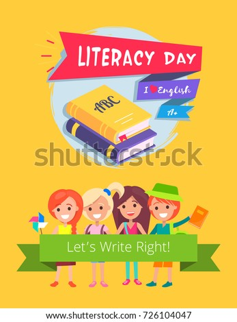 Literacy day, I love english, lets write right poster representing books image and title with children and flag vector illustration isolated on orange