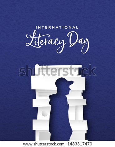 Literacy Day papercut card illustration of man silhouette cutout from book pile. Education concept for knowledge importance.