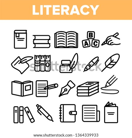Literacy Linear Vector Icons Set. Literacy Thin Line Contour Symbols Pack. Humanities Pictograms Collection. Reading and Writing, School Education, University Study. Stationery Outline Illustrations