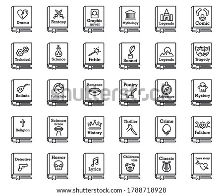 Literary genres book icons set. Outline set of literary genres book vector icons for web design isolated on white background Stockfoto ©