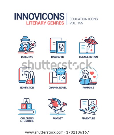 Literary genres - line design style icons set. Bookstore, reading, library content. Detective, biography, science fiction and nonfiction, books for children, graphic novel, fantasy, adventure, romance Stockfoto ©
