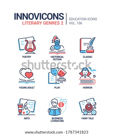 Literary genres - line design style icons set. Bookstore, reading, library content. Poetry, historical fiction and classic books. Young adult, play, horror, arts, business literature, fairy tale Stockfoto ©