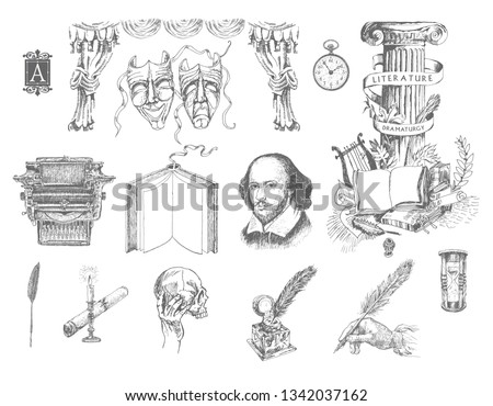 Literature and theater hand drawn vector set. Inkwell, writing tools, pens, books, ancient manuscripts, typewriter, antique column, theater curtain, masks of drama and comedy. Engraving