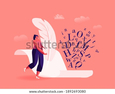 Literature and Writing Hobby, Occupation. Tiny Female Author Character with Huge Feather Pen Writing on Blank Paper Sheet, Woman Create Books, Poetry or Narration Concept. Cartoon Vector Illustration Photo stock ©