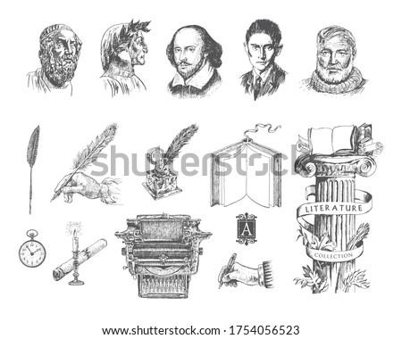 literature hand drawn vector
