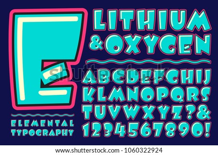 Lithium & Oxygen is a fun, whimsical, and brightly colored alphabet design. This vector type is great for cartoons, birthday cards, or anything with a retro silly or goofy vibe.