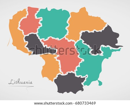 Free lithuania map vector download free vector art stock graphics lithuania map with states and modern round shapes gumiabroncs Image collections