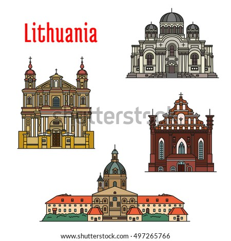 lithuania vector  landmarks of