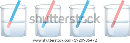 Litmus paper test results, possible color changes of litmus test, pH determination with lütmus test, acidic, basic or neutral solutions, Vector Illustration,  Education for School, Science Online