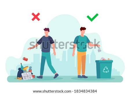 Littering behavior. Infographic of correct and wrong examples of throwing out garbage. Illustration of man disposing trash in container. Recycle rubbish, recycling environment littering Photo stock ©