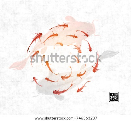 little and big fishes hand
