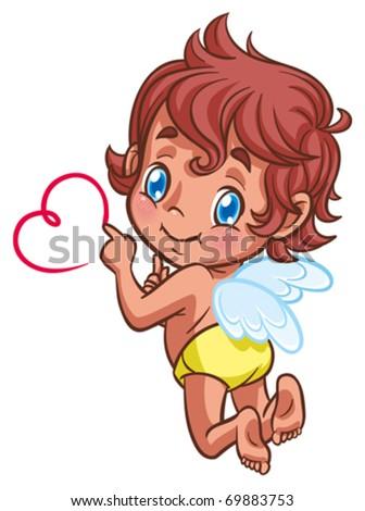 Little angel drawing heart