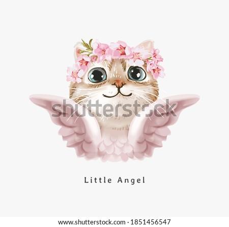 little angel slogan with cute