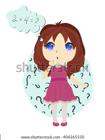 little anime chibi girl trying