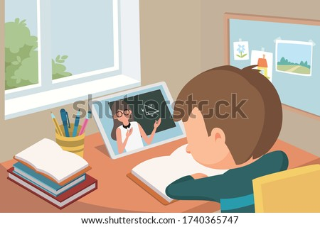 little asian schoolchild participating in a online class using digital tablet via video call