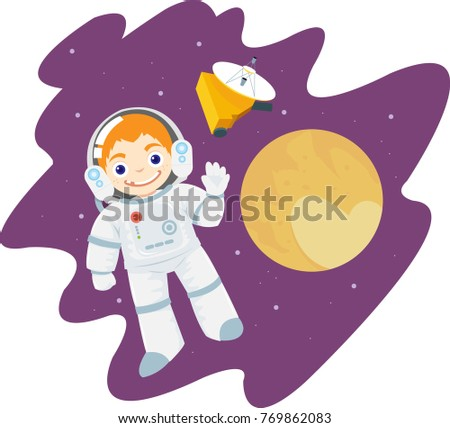 little astronaut boy wearing space suit flying into the space