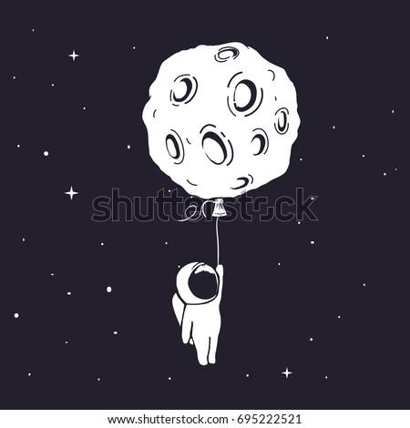 little astronaut flies and