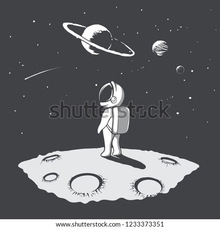 Little astronaut looks to universe at the planet surface.Space traveler.Vector illustration