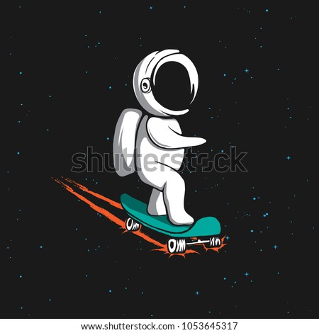 Little astronaut rides on skateboard through the universe.Space vector illustration.Prints design