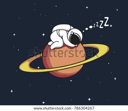 Little astronaut sleeps on Uranus.Childish vector illustration